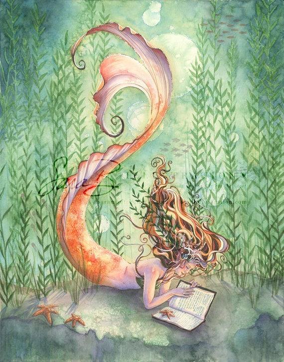 Mermaid Art Print Golden Tangerine Orange Mermaid Reading