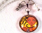 Pendant, Basketball Girl Art Charm Necklace, African American Beaded Jewelry, Black Cord Silver Chain, Art Print, Yellow Brown