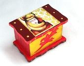 Jewelry Box, Wood Box, Trinket Box Ring Box Wooden Box Earring Holder Original Girl Art Print Yellow Red
