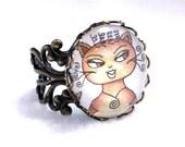 Cat Ring, Bronze Filigree Ring, Cat Art, Cocktail Ring, Adjustable, Cat Jewelry, Original Art Print, Brown Tan