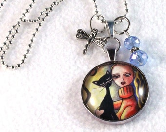 Art Pendant, Black Cat and Girl Upcycled Beaded Jewelry, Charm Necklace, Black Cord or Silver Chain, Art Print Under Glass, Orange