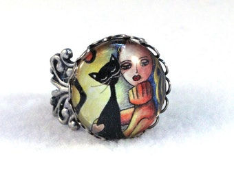 Silver Ring, Black Cat and Girl Art Filigree Ring, Cocktail Ring Art Deco Victorian Cat Jewelry, Art Print, Yellow Orange Black