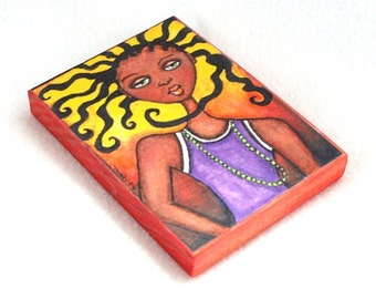 Wood Block Print, ACEO ATC Girl Art Print, Watercolor African American Art, Drilled Hole or Magnet, Purple Yellow Orange, 2.5 x 3.5