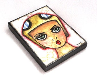 Female Aviator ACEO ATC, Girl Art Print on Wood Block, Aviation Aviator, Watercolor Original Art Print, Artist Trading Card, Tan Beige