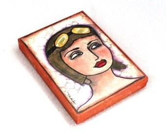 Female Aviator Art Print on Wood Block, ACEO ATC, Watercolor Girl Art Print, Original Art Print, Artist Trading Card, Olive Green Tan