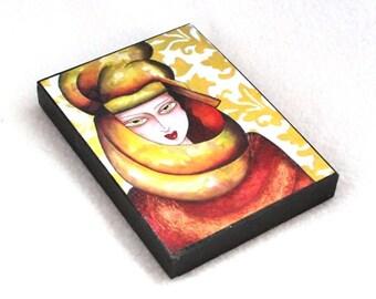 Art Deco Art Print on Wood Block, Arabic Girl ACEO ATC, Drilled Hole or Magnet, Egyptian Art Watercolor, Mediterranean, Orange Yellow