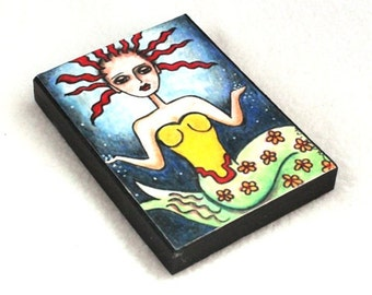 Magnet, Mermaid Girl Art Print on Wood Block, ACEO ATC, Artist Trading Card, Original Art Print, Shore, Ocean, Sea, Beach Blue