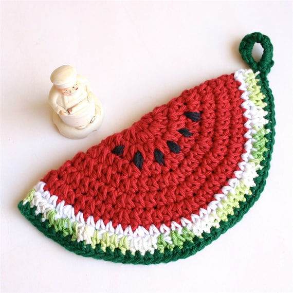Vintage Inspired Crochet Cotton Pot Holder - Watermelon 2
