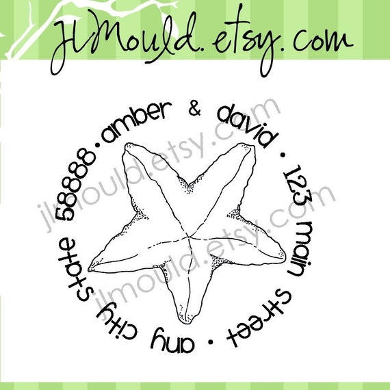 Return Address Wedding Calligraphy Starfish Beach Mounted Wedding Clear Rubber Stamp 0078 (red rubber wooden block stamp)