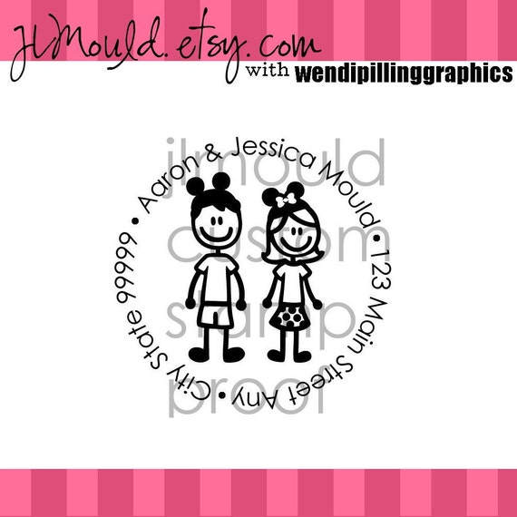 LIMITED EDITION You choose your Family Members Custom Personalized Red Rubber Stamp 2x2 (Red Rubber Stamp without handle) LE1
