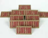 I LOVE YOU Mini Letterpress Wood Type Cards 20 Pack - gift tags