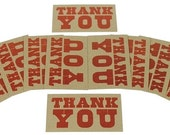 RED THANK YOU Mini Cards Hand Printed Letterpress 20 pack - gift enclosures