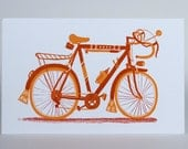 RACER BICYCLE 10 SPEED Print Hand Printed Letterpress with Kraft Envelope