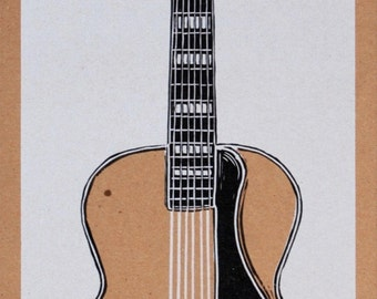 Hand Carved ARCHTOP GUITAR Print Hand Printed Letterpress Poster