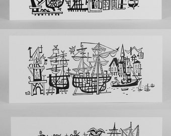 3 prints JIM FLORA HARBOR Scene Boats and Ships Series of 3 Small Hand Printed Letterpress