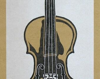 HAND-CARVED FIDDLE Violin Print - Hand Printed Letterpress Poster