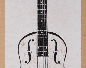 Hand-Carved RESONATOR GUITAR Print- String INSTRUMENT - Hand Printed Letterpress Poster