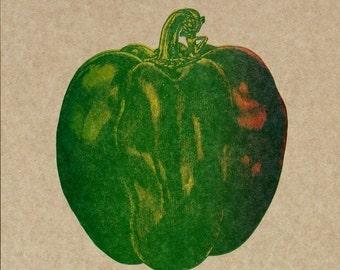 FARMERS MARKET Bell PEPPER Hand Printed Letterpress Poster