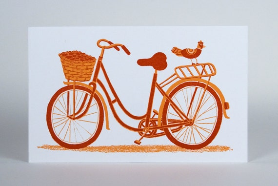 BICYCLE WITH BASKET card with Kraft Envelope Hand Printed letterpress bike decor print to frame