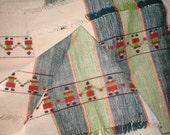 Hand Loomed Napkin Set of Twelve - Holding Hands Design - Vintage 50s - Hand Woven Textile - Tableware Serving Housewares Kitchen Linens