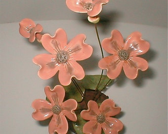 Vintage 70s Hand Made Ceramic Flower Sculpture Pink  Bloom-  Bouquet Modern Home Decor