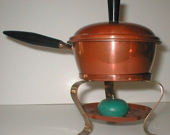 Mid Modern Copper Butter Warmer - Small Sauce Pot on Warming Stand - Vintage 60s