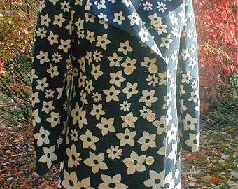 Garden and Sky Camo Coat - Aquanala and Saks Fifth Avenue  -  Fabulous MOD 60s Coat - Size Medium