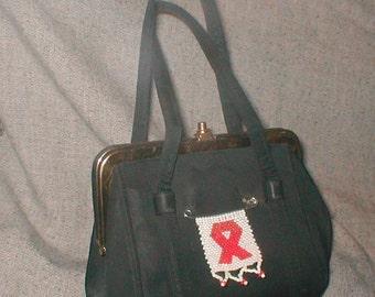 Little Black Purse of Purpose - Frame  Handbag with Beaded Pin - Vintage 40's