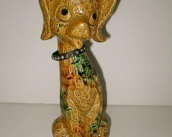 Ceramic Dog Figurine -  15 Inches Tall Mid-Century Modern -  Big Eyed Puppy - Spike Adorable -