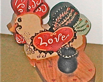 Love Rooster Candle Holder - Hand Painted Wooden Table Candle - Vintage 70s