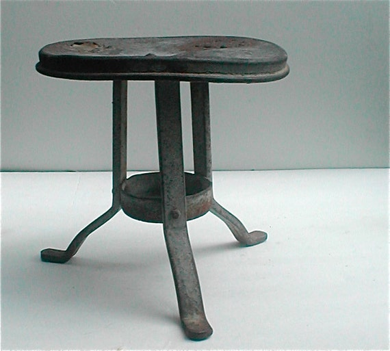 Farm Furniture - Old Metal Milking Stool -  Real Deal Rustic Ware