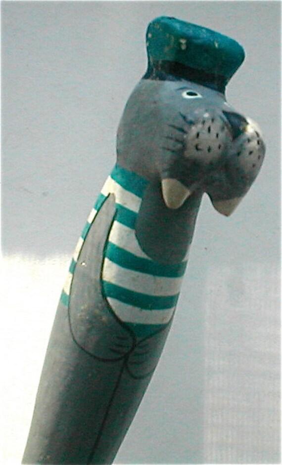 I Am The Walrus Carved Wood Pen - Vintage 80s
