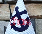 Boys Birthday Party Hat - Nautical Theme, blue anchor, red and white - Completely Custom