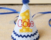 Boys First Birthday Party Hat - Blue, red, and yellow - Seersucker stripes and Michael Miller sunny dots - Free personalization
