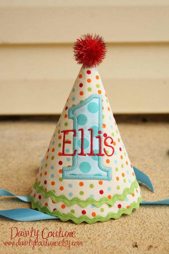 Boys 1st Birthday Party Hat - Party hat - Cake smash outfit - Cream dots in red, aqua, orange, and green - Unique gift