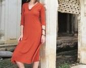 Organic Hampi Simplicity Below Knee Dress - ( organic tissue cotton ) - organic cotton dress