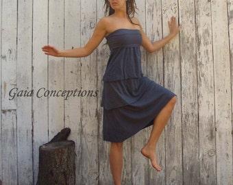 ORGANIC Love Me 2 Times Fountain Simplicity Below Knee Dress ( light hemp and organic cotton knit ) - organic dress