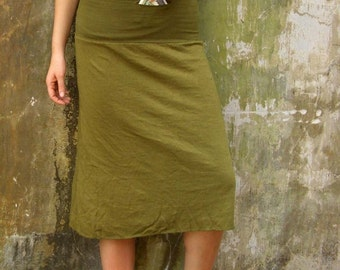 ORGANIC Secret Pocket Simplicity Below Knee Skirt - ( light hemp and organic cotton knit ) - organic hemp skirt