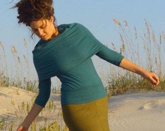 ORGANIC Super Cowl Folded Band Shirt - ( light hemp and organic cotton ) - organic shirt
