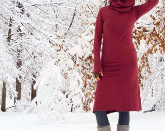 Organic Chunky Cowl Pokara Below Knee Dress ( hemp and organic cotton fleece ) - hemp fleece dress