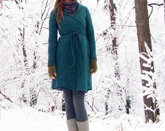 ORGANIC Hooded Wrap Short Fleece Dress ( hemp and organic cotton fleece ) - organic wrap dress