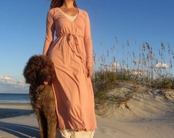 Women's ORGANIC Drawstring Wrap Simplicity Long Dress ( 100% Organic Cotton Knit )