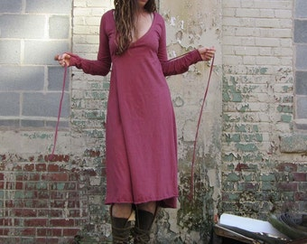 ORGANIC Drawstring Wrap Below Knee Dress - ( locally milled organic cotton ) - organic cotton dress