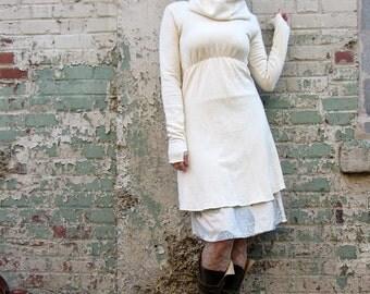 Chunky Cowl Empire Simplicity Short Dress ( FLEECE Hemp/Organic Cotton Knit ) - organic hemp dress
