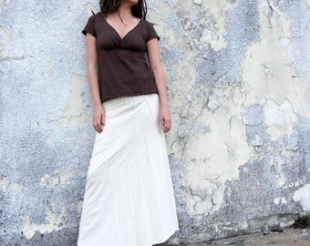 Organic Lovely Day Wanderer Long Skirt - ( light hemp and organic cotton knit ) - organic hemp skirt