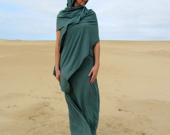 Women's ORGANIC Love Me 2 Times SARI Simplicity Long Dress ( LIGHT hemp/organic cotton knit) - organic travel dress