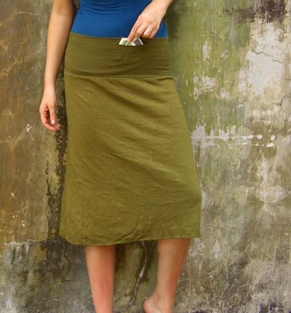 ORGANIC Secret Pocket Below Knee Skirt - ( light hemp and organic cotton knit ) - organic hemp skirt