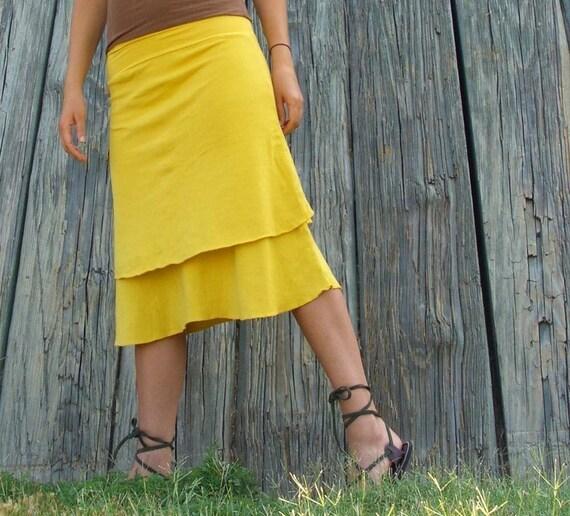 Organic Double Layer Below Knee Skirt (light hemp/organic cotton blend)