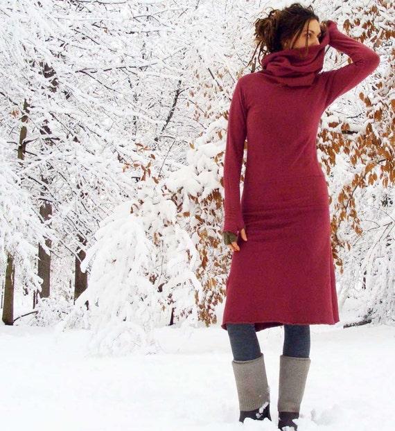 Organic Pokara Below Knee Dress ( hemp and organic cotton fleece ) - hemp fleece dress