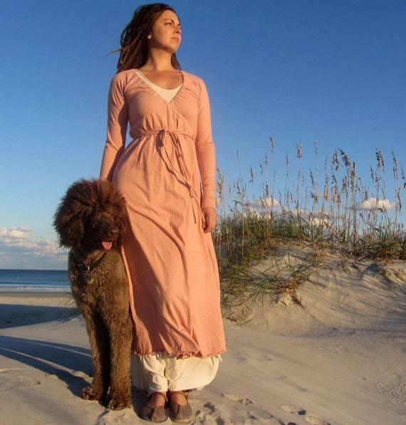 ORGANIC Drawstring Wrap Long Dress ( local organic cotton ) - organic wrap dress